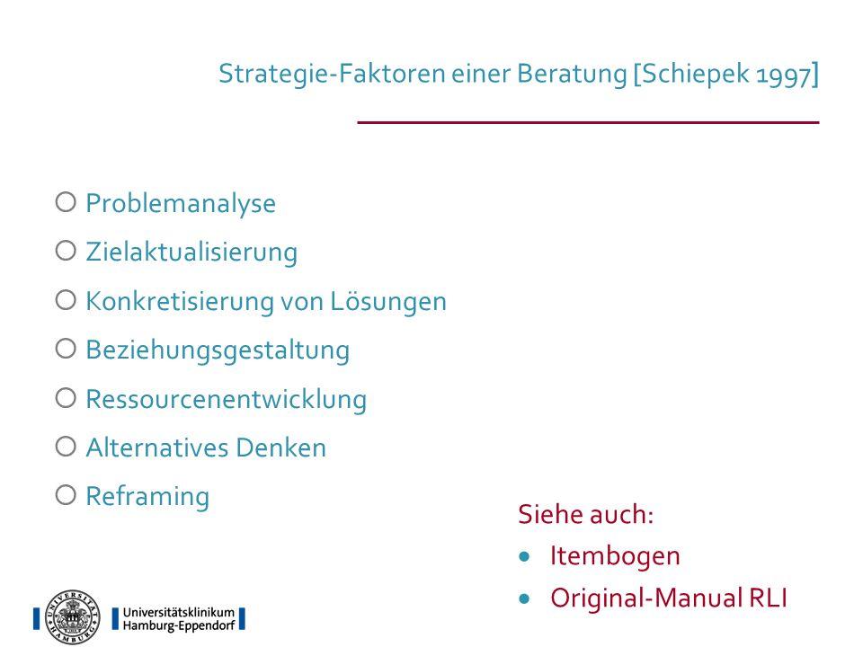 Strategie-Faktoren einer Beratung [Schiepek 1997]